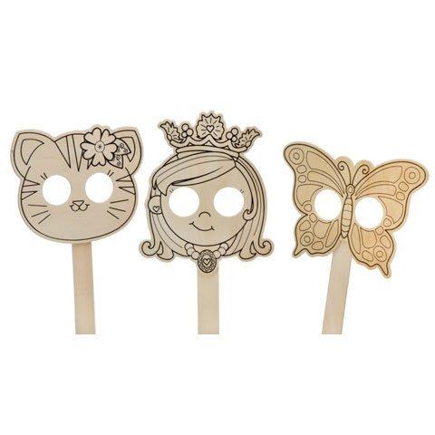 (Darice Bulk Buy DIY Kids Wood Mask 3 Assorted Styles Princess, Butterfly, or Kitten (24-Pack))
