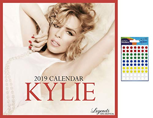 Bundle - 2 Items - Kylie Minogue 2019 Wall Calendar Free Poster - Closed Size : 42 x 29.5 cm (16.5 x 11.5 inches) a Sheet 70 Multi Colour Self Adhesive Dot Stickers