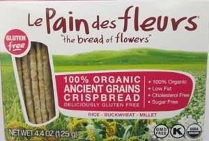 Le Pain Des Fleurs Organic Ancient Grains Crispbread 4.4 Oz (12 Pack)
