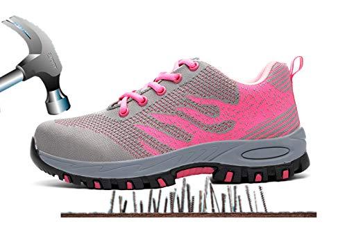 Aizeroth-UK Uomo Donna S3 Scarpe da Lavoro Comodissime Traspiranti Scarpe antinfortunistiche con Punta in Acciaio Stival Calzature da cantiere escursionismo Sneaker di Sicurezza per Industria Edilizia Rosa