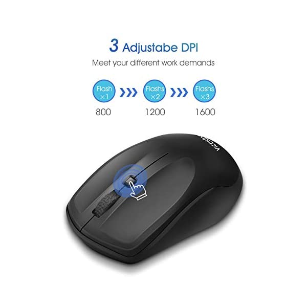 VicTsing Wireless Mouse for Laptop, Portable Ergonomic Mouse- Match Your Hand Better, 3 Adjustable DPI Levels, Power On…