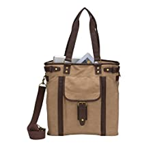 Travelwell G3225 Unisex Laptop iPad Tablet Canvas with PVC Leather Vintage Urban Tote Bag