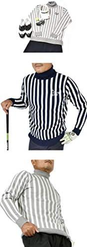 【コモンゴルフ】 COMON GOLF メンズ 12G ジャガード織り タートルネック ストライプ ゴルフ セーター CG-ST917SK