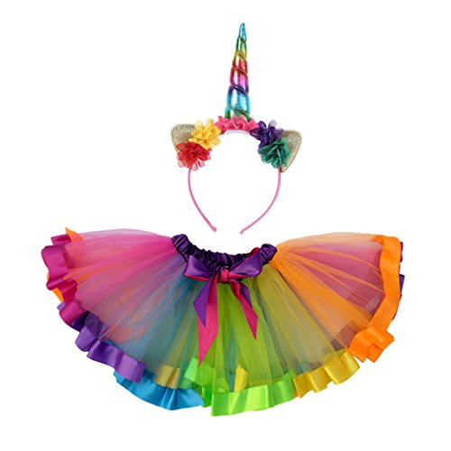 Dreamdanceworks Girls Layered Rainbow Tutu Skirt Dress Ballet Tiered (Large(5-8Y))