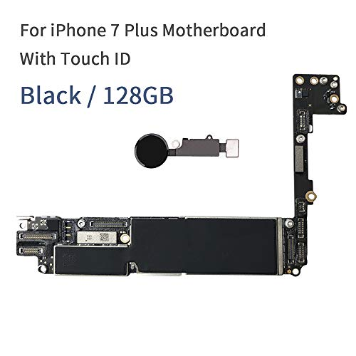 for iPhone 7 Plus 5.5 inch Motherboard Unlock Mainboard with Touch ID Full Function 100% Original iOS Installed Logic Board (128GB Black)