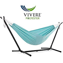 Vivere's Polyester Hammock combo with stand - Aqua