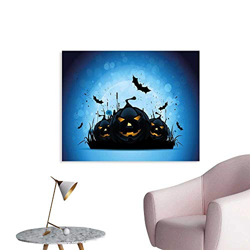 J Chief Sky Halloween Wallpaper Sticker Scary Pumpkins in Grass with Bats Full Moon Traditional Composition Decor Mural for Home W36 xL32 ()