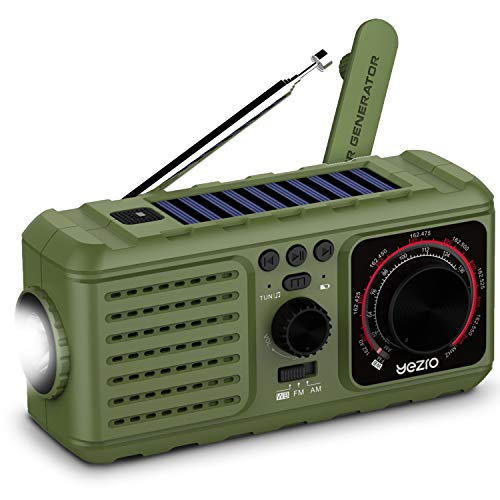 Solar Crank Emergency Radio, YEZRO NOAA/AM/FM Portable Weather Radios with Flashlight, SOS Alarm, USB Phone Charger, MP3 Player, 2200mHA Power Bank for Home Outdoor (Green)
