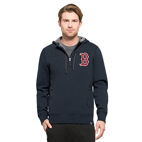 MLB Boston Red Sox Men's '47 Compete Full-Zip Hood, Marine, - Boston Jacket Hooded Red Sox