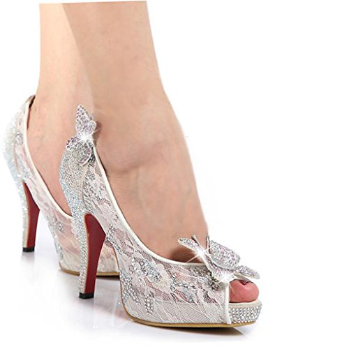 Littleboutique Women Lace Wedding Pumps Crystals Bridal High Heels Rhinestone Evening Party Dress Pump White 9.5