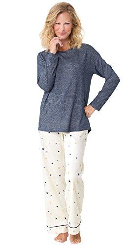PajamaGram Women's Lucky Star Cotton Flannel Pajamas, Blue, LRG (Ladies Lucky Stars)