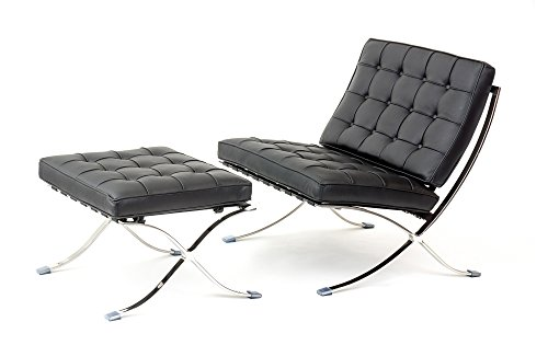 ArtisDecor Premium Lounge Chair and Ottoman Made with Top Grain Italian Leather - Black by Artis Decor