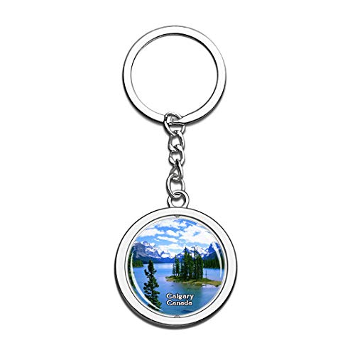 Keychain Bow River Calgary Canada Keychain 3D Crystal Spinning Round Stainless Steel Keychains Travel City Souvenir Key Chain Ring]()
