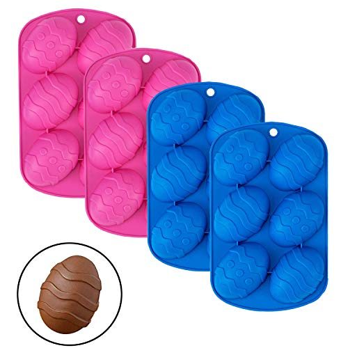 4 Pack Easter Egg Shape Silicone Treat Mold, Easter Silicone Mold for Chocolate, Candy, Baking Muffin, Cupcake, Jello, Soap, Bath Bomb, Ice Cube