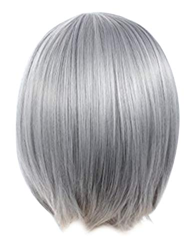 Angelaicos Lolita Harajuku Style Halloweeen Anime Cosplay Party Costume Full Wigs Silver Gray
