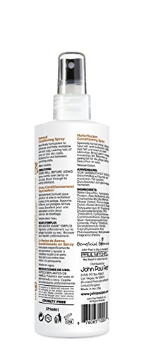 John Paul Pet JPS6801 Oatmeal Conditioning Spray for Dogs and Cats, Sensitive Skin Formula Soothes and Moisturizes Dry Skin and Fur, Non-Aerosol, 8-Ounce
