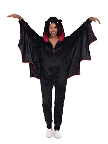 Ladies Bat Halloween Costume (Women's Bat Halloween Costume - Cute Black Bat Jumpsuit: Large)