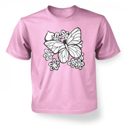 Butterfly And Flowers Kids T-shirt - Light Pink S (5-6)
