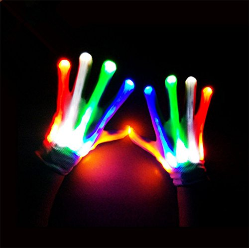 MAZIMARK--LED Light Gloves Finger Lighting Electro Rave Party Dance Skeleton Halloween New