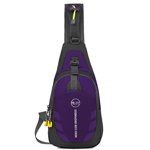 hole High Wearable capacity rock Chest Cycling Headphone travel climbing purple nylon men bag women SCHOOL pack impermeable cable and sling qtOY7qx