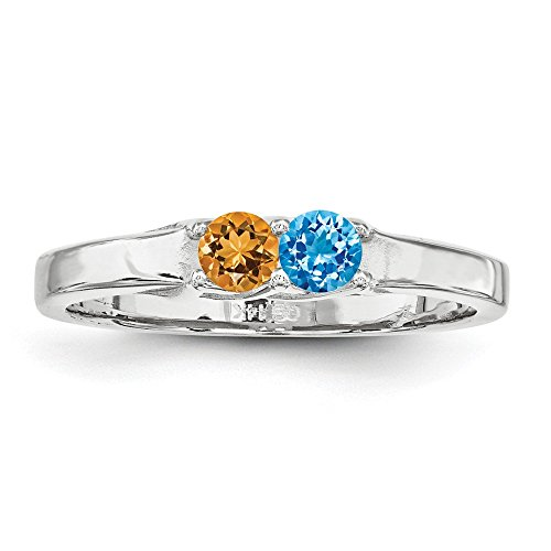 Family Celebration Rings 14k White Gold Genuine 2 Stone Mother's Ring Size One Size