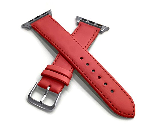 Fine Red Italian Leather Watch Band with chrome buckle and connectors for 38mm Apple Watch with Silver Gift (Chrome Band)