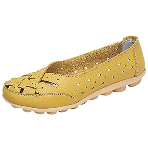 Aniywn Women's Round Toe Flat Soft Shoes Casual Loafers Slip-On Cutout Sandals Casual Breathable Shoes Yellow Breathable Rug By Shirt