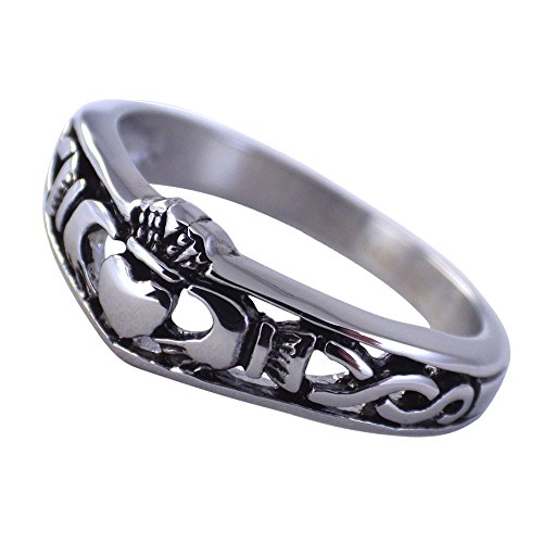Fantasy Forge Jewelry Women's Silver Tone Celtic Knot Claddagh Ring Wedding Band Size 5-10