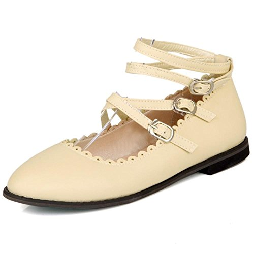 COOLCEPT Sweet Pumps Ankle Strap Flat Pumps Girls Court Shoes Beige LU2yDbzCKu