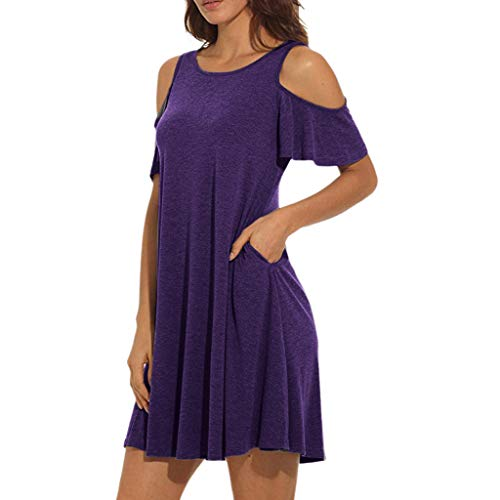 (Landfox Dress,Clothing Shoes, Summer Cold Mid-Long Dress,Women's Shoulder Tunic Top Swing T-Shirt Loose Dress with Pockets)
