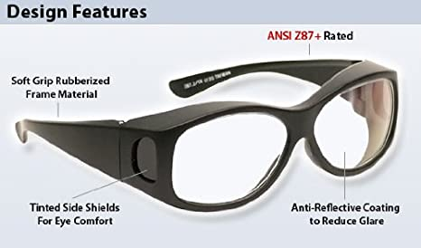29fe830ac99 Anti-Reflective Fitover Safety Glasses Clear Lens - - Amazon.com