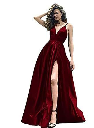 Spaghetti Straps Prom Dresses Long V Neck Split Evening