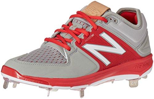Nuovo Equilibrio Mens L3000v3 Scarpe Da Baseball In Metallo Grigio / Rosso