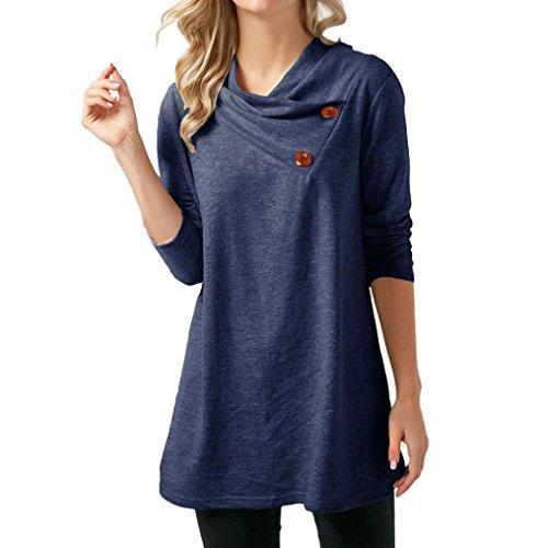 Shirt Automne ITISME Bleu Tee Casual Femme Manche Longues Blouse Peluche en Grande Top Taille Haut 5547xSwq
