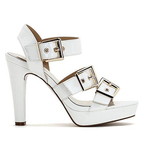 Cm Blanc Dorées Scarpe Sandales Avec Talons 12 Hautes À Boucles amp;scarpe En Cuir Alesya By 6O0qxw5T