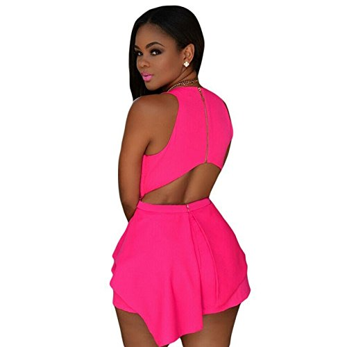 2b77a48cbed Designer97 Fashion Women s Sexy Cut-Out Back Combination Bodysuit Peplum  Womens Rompers at Amazon Women s Clothing store
