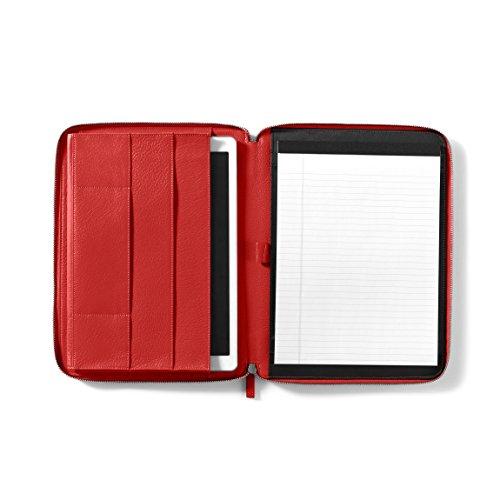 12.9 Inch Ipad Pro Portfolio - Full Grain Leather Leather - Scarlet (Pebbled Leather Padfolio)