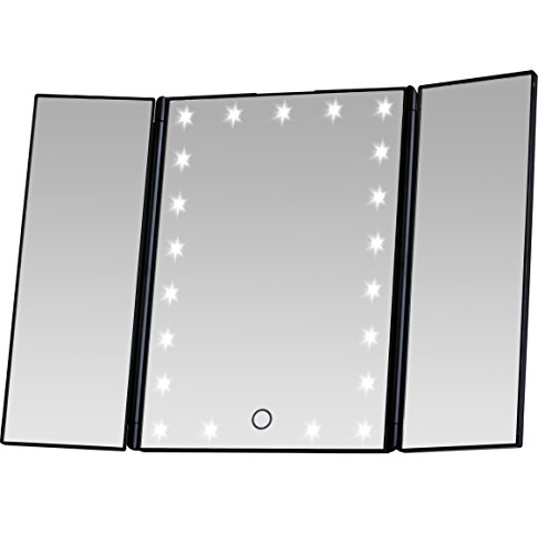 Miss Sweet Led Makeup Mirror Lighted Tabletop Mirror Trifold Compact Mirror with Lights (Black1)