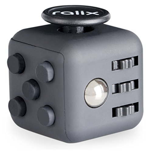 Anxiety Stress Relief Fidget Cube: Calming Toy for Focus, Relaxation, Distraction & Improved Mood - Aids Depression, Worry & Fear - Perfect Gift for Autism, Anger, ADD, ADHD & PTSD (Black/Black)