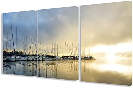 Stupell Home D cor Sail Boats On The Dock Triptych Wall Art Triptych Stretched Canvas Wall Art Set, 16 x 1.5 x 24, Proudly Made in USA