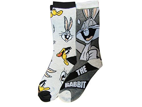 looney-tunes-characters-bugs-bunny-and-daffy-duck-licensed-mens-2-pack-crew-socks