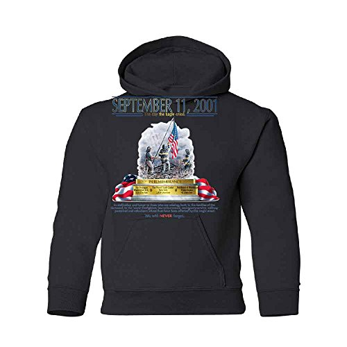 9/11 The Day The Eagle Cried Youth Hoodie We Will Never Forget Wtc Sweatshirt Black Youth -