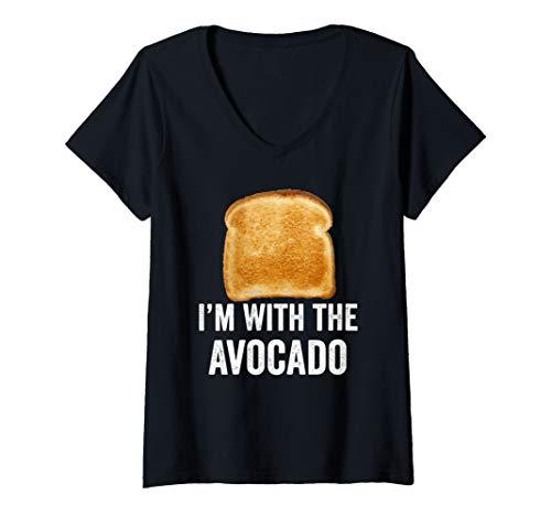 Womens Toast I'm With The Avocado Bread Slice Avocado Toast Costume V-Neck T-Shirt