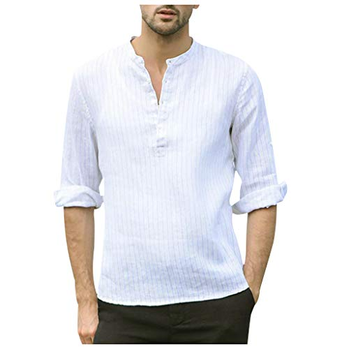 Men Shirts Casual Cotton Linen 3/4 Roll-up Sleeve Shirts V-Neck Striped Print Baggy Shirts White ()