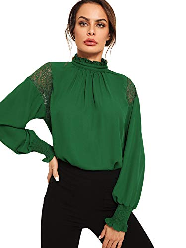(Floerns Women's Long Sleeve Stand Collar Lace Chiffon Blouse Top Green L)