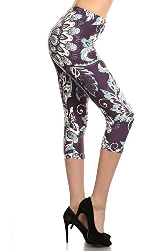 - R724-CA-PLUS Thriving Floral Capri Print Leggings