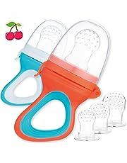 2 Fruchtsauger für Baby & Kleinkind + 6 Ersatz-Sauger in 3 Größen aus hygienischem Silikon - Sicher & BPA-frei - für Obst Gemüse Brei Beikost & Co. - Zahnungshilfe