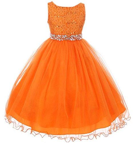 Big Girls Sleeveless Sequins Rhinestones Tulle Pageant Flower Girl Dress Orange 12 (M3B4K0)