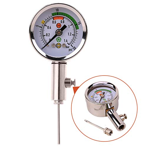 Pressure Ball Gauge - Wrzbest Ball Air Pressure Gauge Heavy Duty Metal Made Air Watch Test and Adjust The Pressure for Football Soccer Rugby Basketball Volleyball, Etc