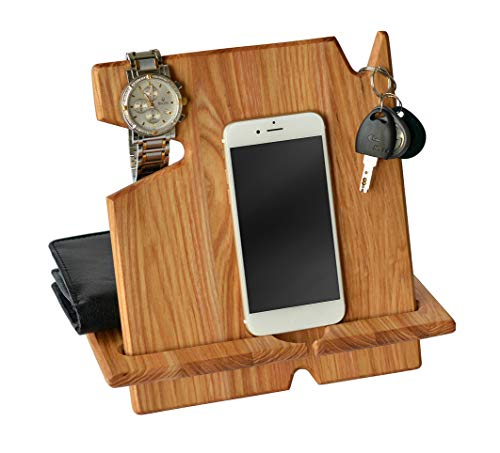 Wood Phone Docking Natural Ash Station with Key Holder, Wallet Stand and Watch Organizer Men's Gift MyFancyCraft Compatible with Any Phone